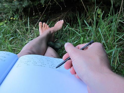 Edita Kaye writing_outside